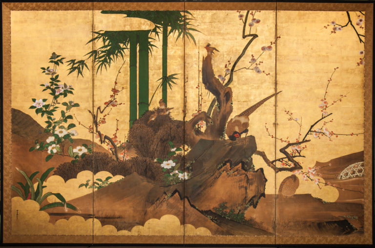 Japanese Four Panel Screen: Pheasant, Birds, Flowers and Bamboo