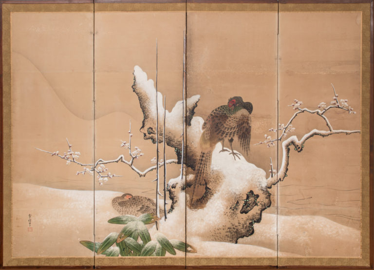 Japanese Four Panel Screen: Pheasants in Ancient Plum in Snowy Landscape