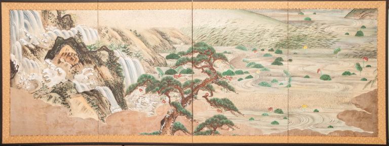 Japanese Four Panel Screen: Water Landscape