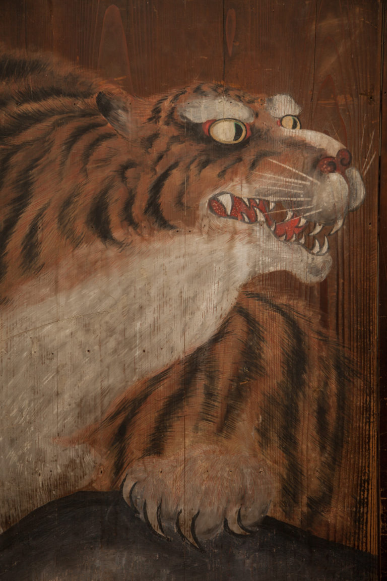 Japanese Four Panel Wooden Screen: Tiger on Rock with Bamboo