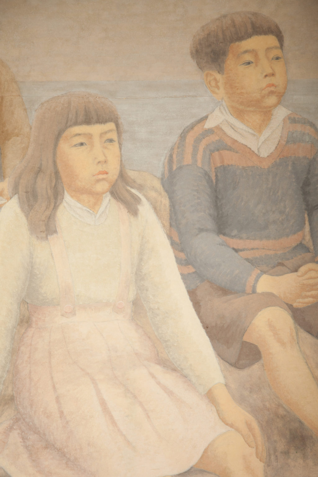 Japanese Single Panel Painting: Three Children Gazing At The Sea
