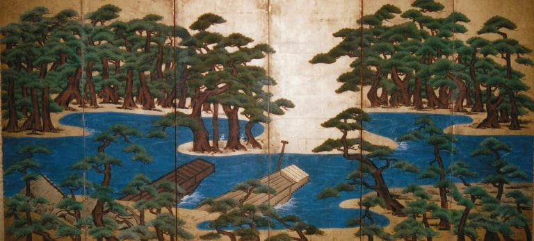 Japanese Six Panel Screen:  Pine Trees and Boats at Water's Edge