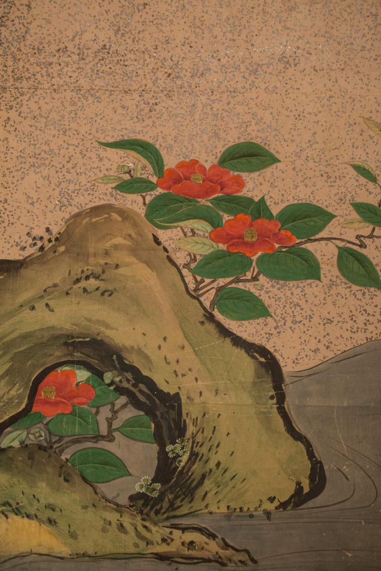 Japanese Six Panel Screen: Amorous Pheasants in Venerable Garden Pine