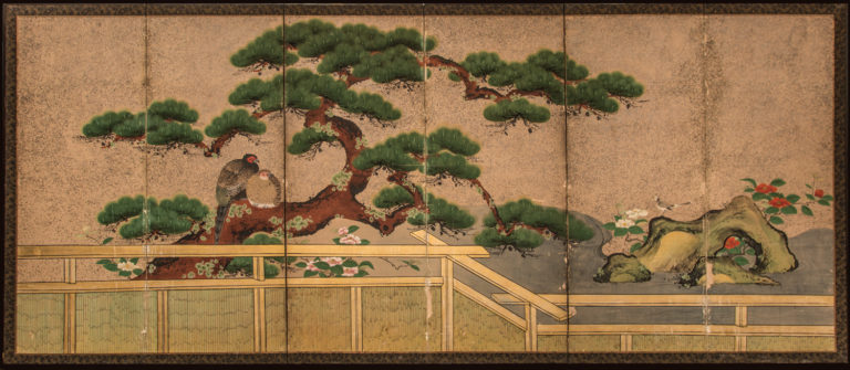 Japanese Six Panel Screen: Amorous Pheasants in Venerable Garden Pine