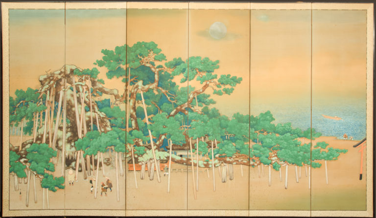 Japanese Six Panel Screen: Ancient Pines On the Shore Under Silver Moon