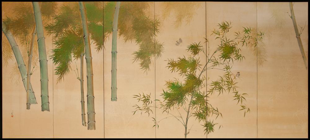 Japanese Six Panel Screen: Bamboo on Silk – B