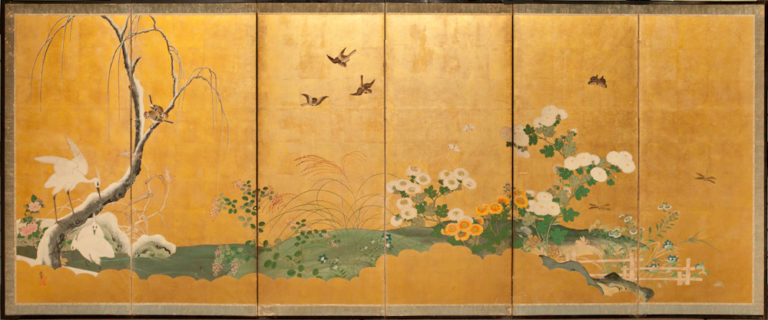Japanese Six Panel Screen: Birds and Flowers in a Water Landscape