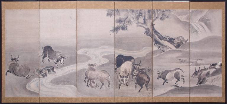 Japanese Six Panel Screen: Bulls in a Gentle Landscape
