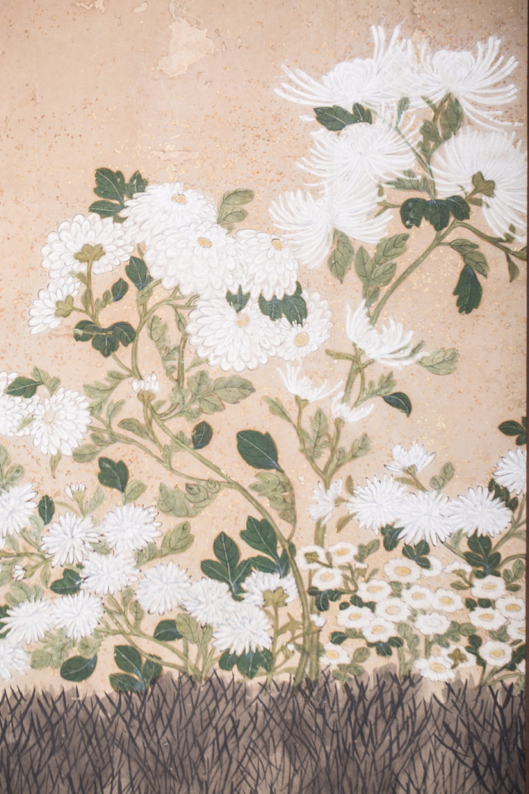 Japanese Six Panel Screen: Chrysanthemums and Twig Fence with Gold Flakes