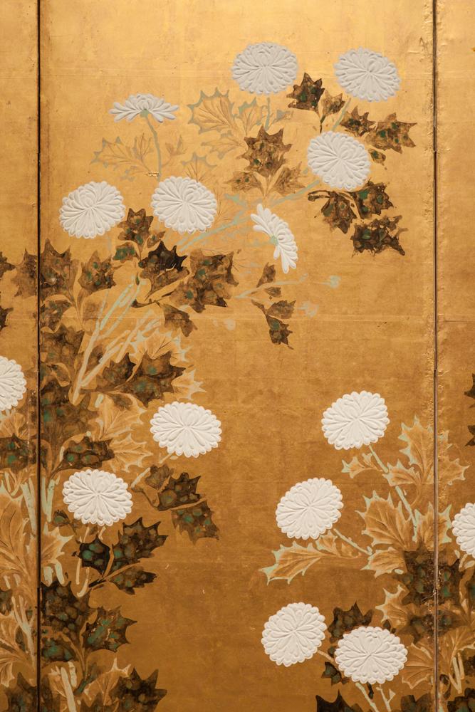 Japanese Six Panel Screen: Chrysanthemums on Gold