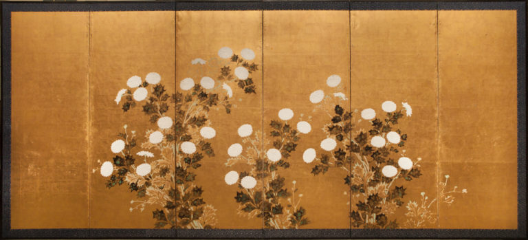 Japanese Six Panel Screen: Chrysanthemums on Gold