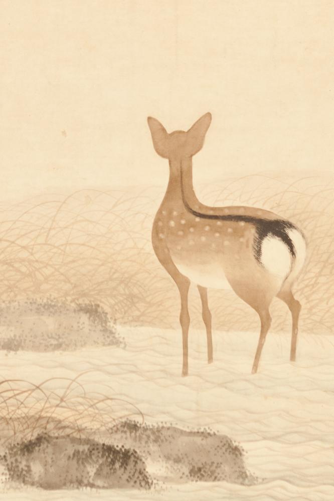 Japanese Six Panel Screen: Deer in Moonlit Water Landscape