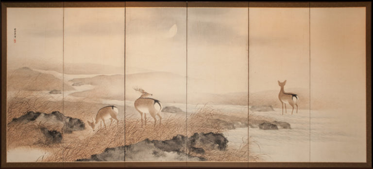 Japanese Six Panel Screen: Deer in Moonlit Water Landscape