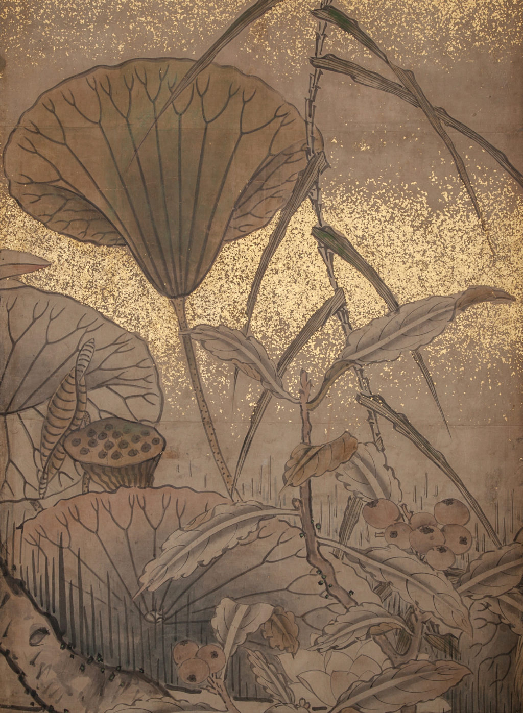 Japanese Six Panel Screen: Egrets in Water Landscape with Lotus and Loquats