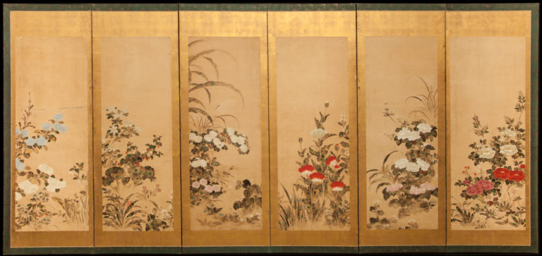 Japanese Six Panel Screen: Flowering Plants