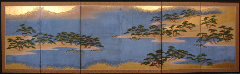 Japanese Six Panel Screen: Hamamatsu