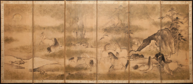 Japanese Six Panel Screen: Horses in a Moonlit Landscape