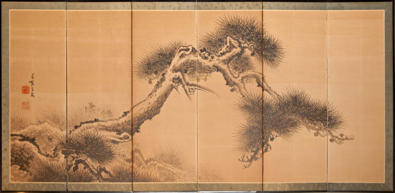 Japanese Six Panel Screen: Ink Painted Pine Tree