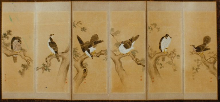 Japanese Six Panel Screen: Shogun's Pets (Falcons)