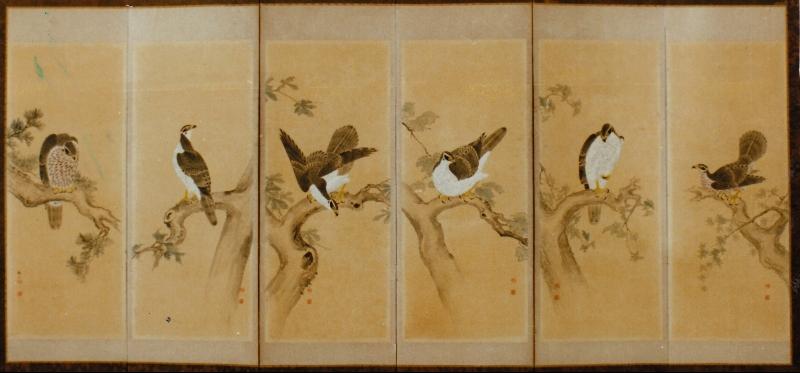 Japanese Six Panel Screen: Shogun's Pets (Falcons)