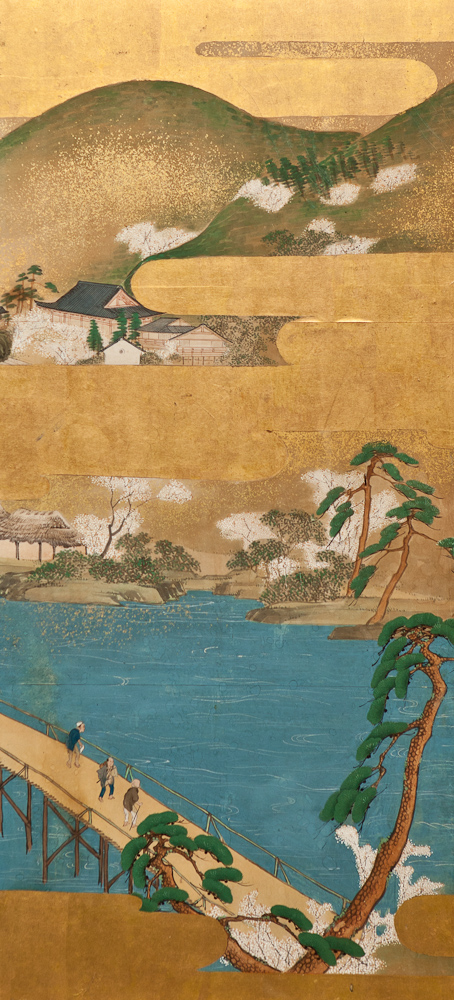 Japanese Six Panel Screen: Spring Landscape in the Higashiyama Hills