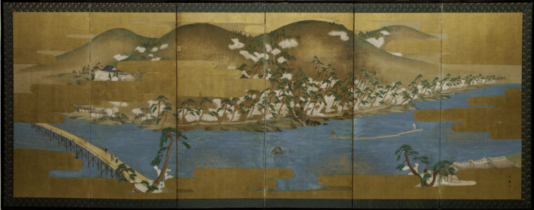 Japanese Six Panel Screen: Spring Landscape in the Higashiyama Hills