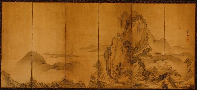 Japanese Six Panel Screen: Towering Mountain Landscape