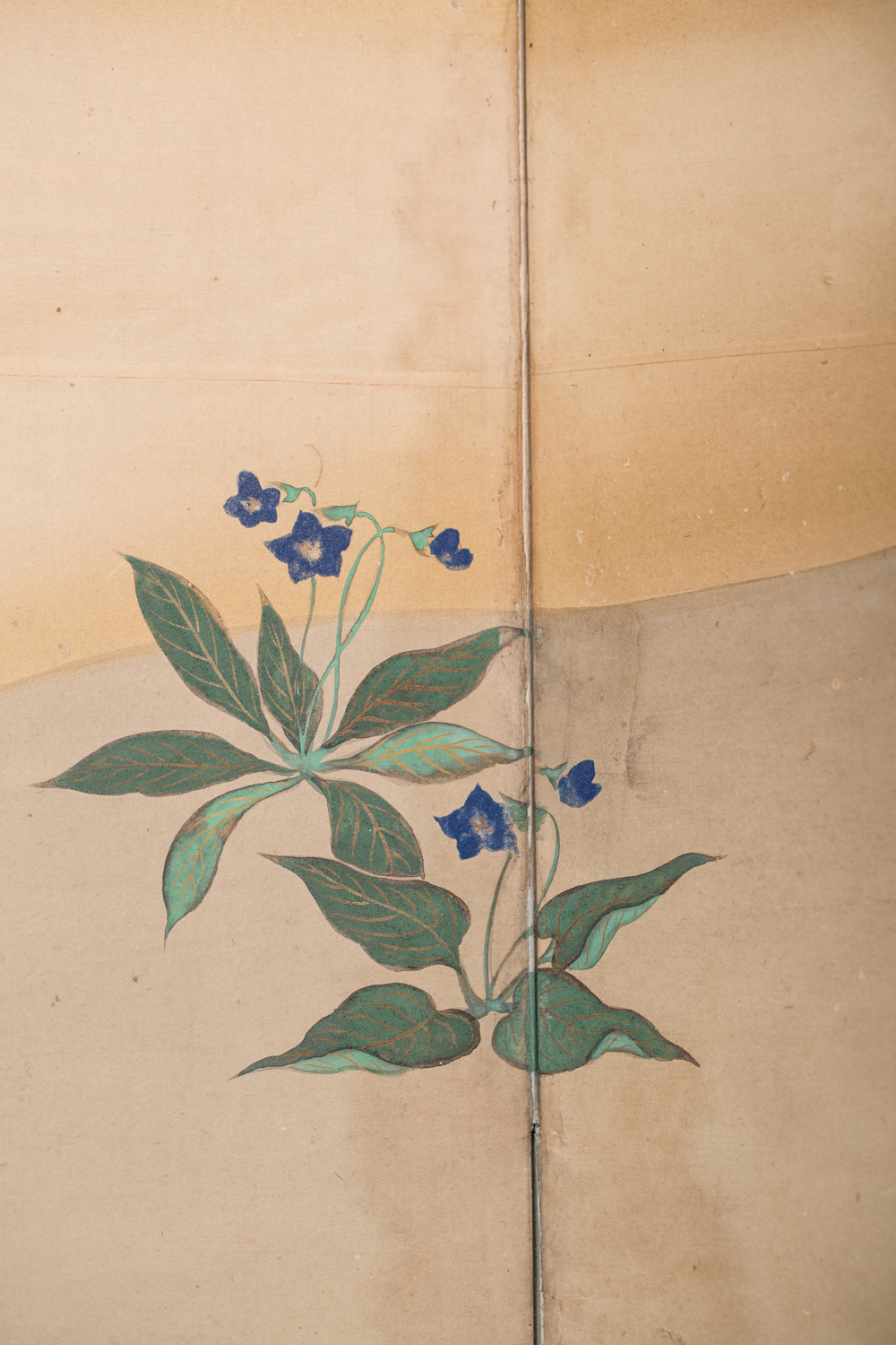 Japanese Six Panel Screen: Young Pine and Bell Flowers