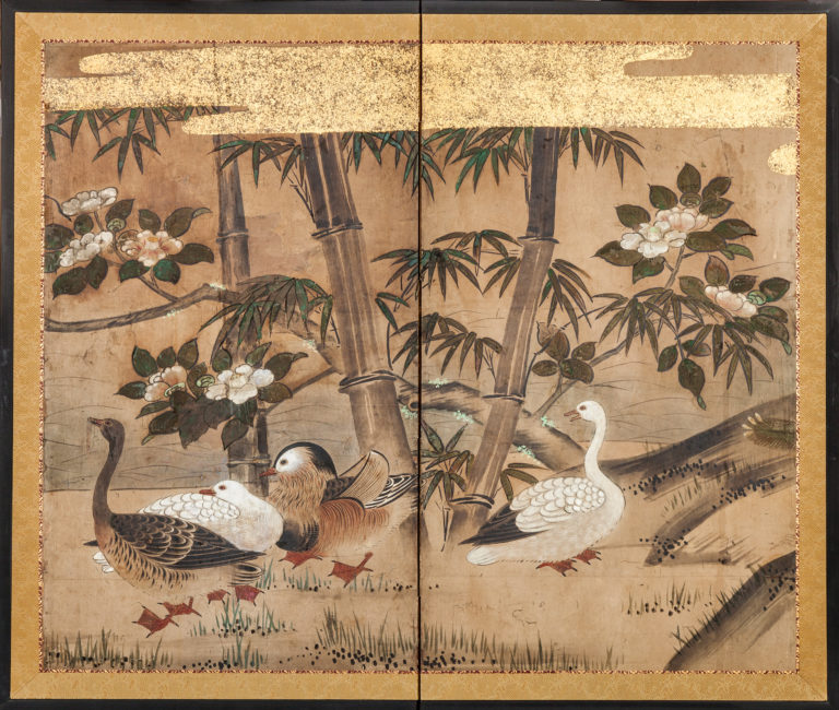Japanese Two Panel Screen:  Bamboo, White Camelias, Wood Ducks, And Geese