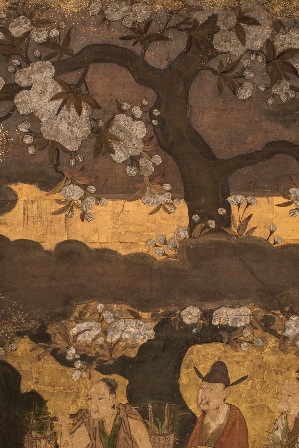Japanese Two Panel Screen:  Court Figures in a Garden with Flowering Cherry