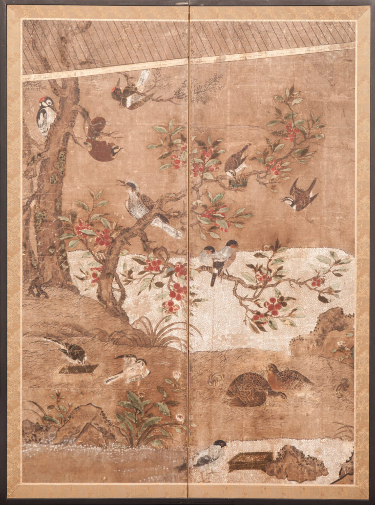 Japanese Two Panel Screen:  Early Audubon Syle Painting