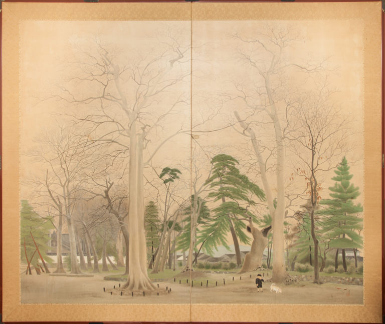 Japanese Two Panel Screen: A Boy and His Shiba Dog on Temple Grounds