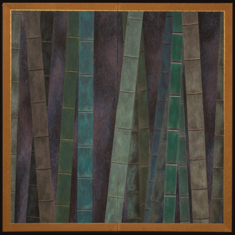 Japanese Two Panel Screen: Abstract Bamboo Forest at Night