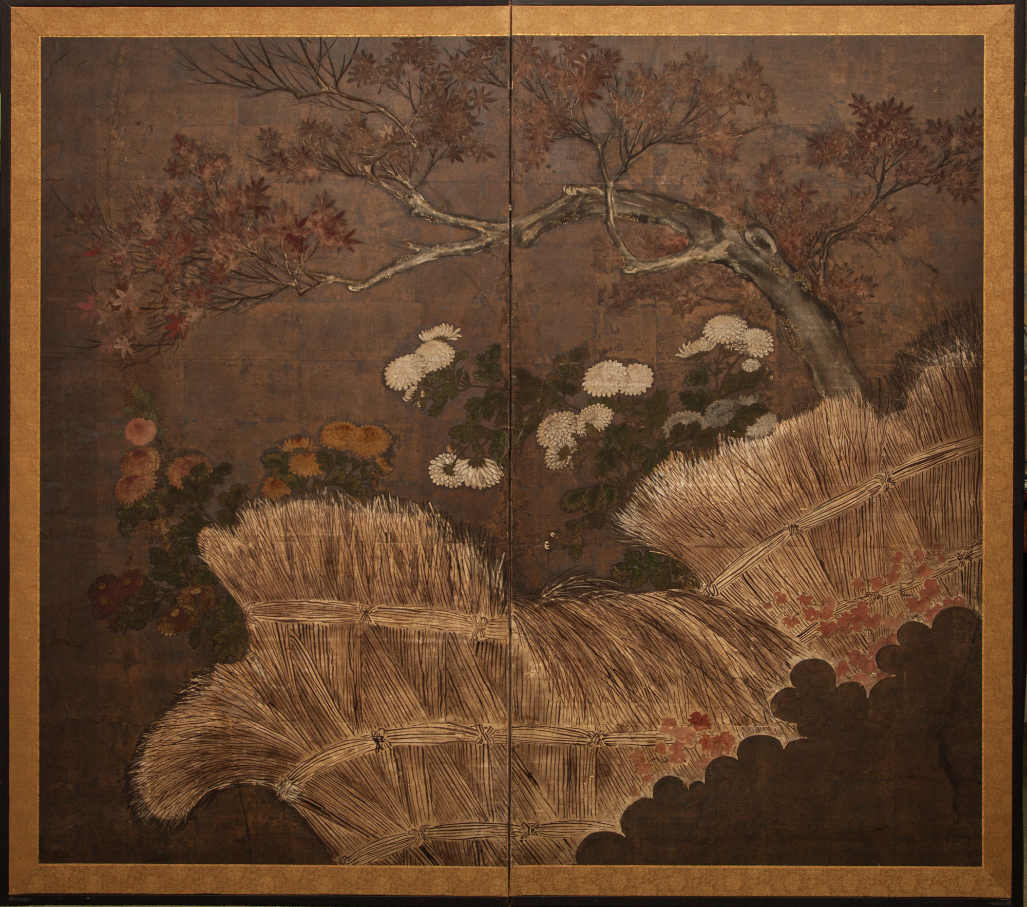 Japanese Two Panel Screen: Autumn Scene with Red Maple Tree