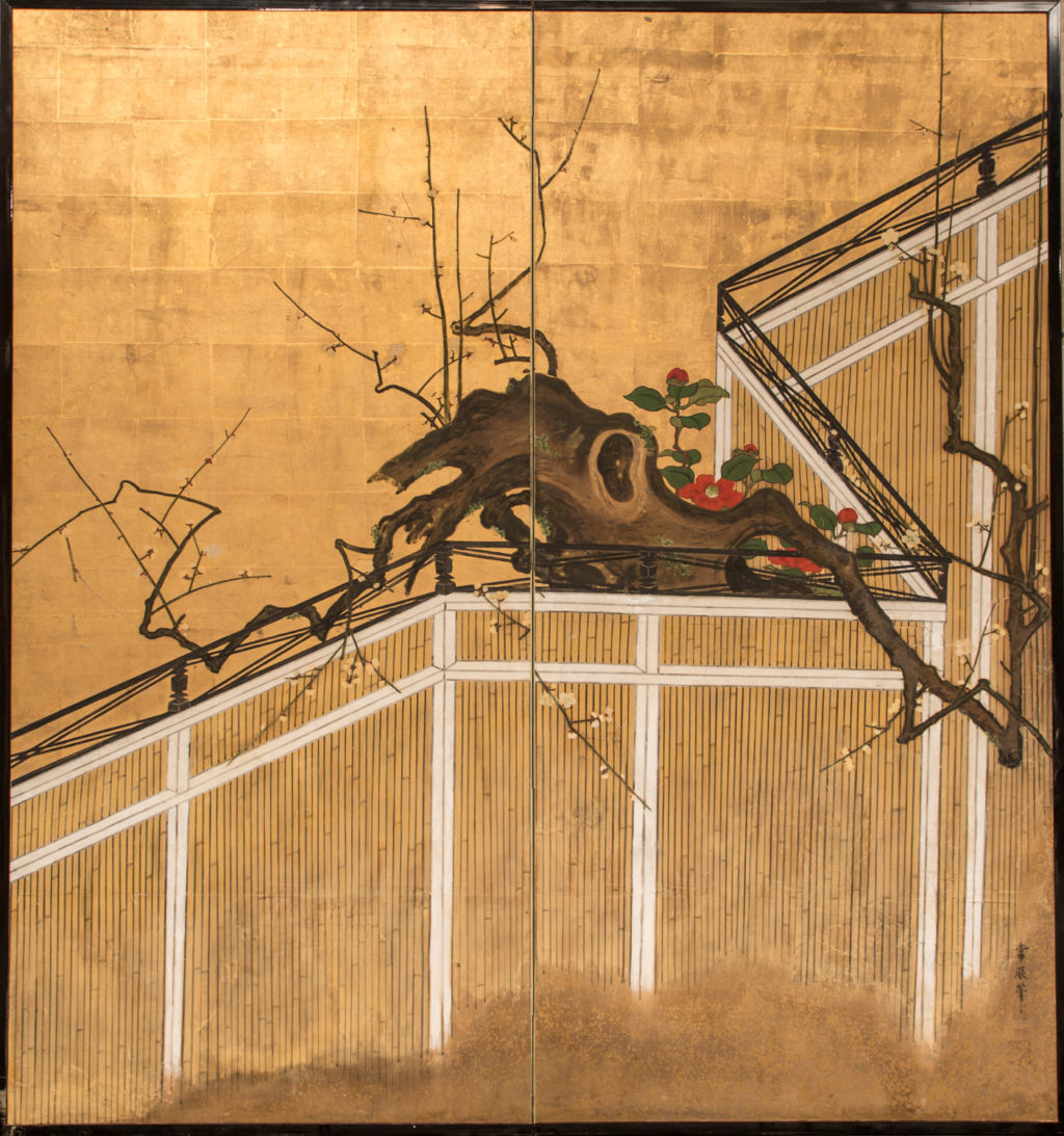 Japanese Two Panel Screen: Camellia and Plum Blossom Over a Garden Fence