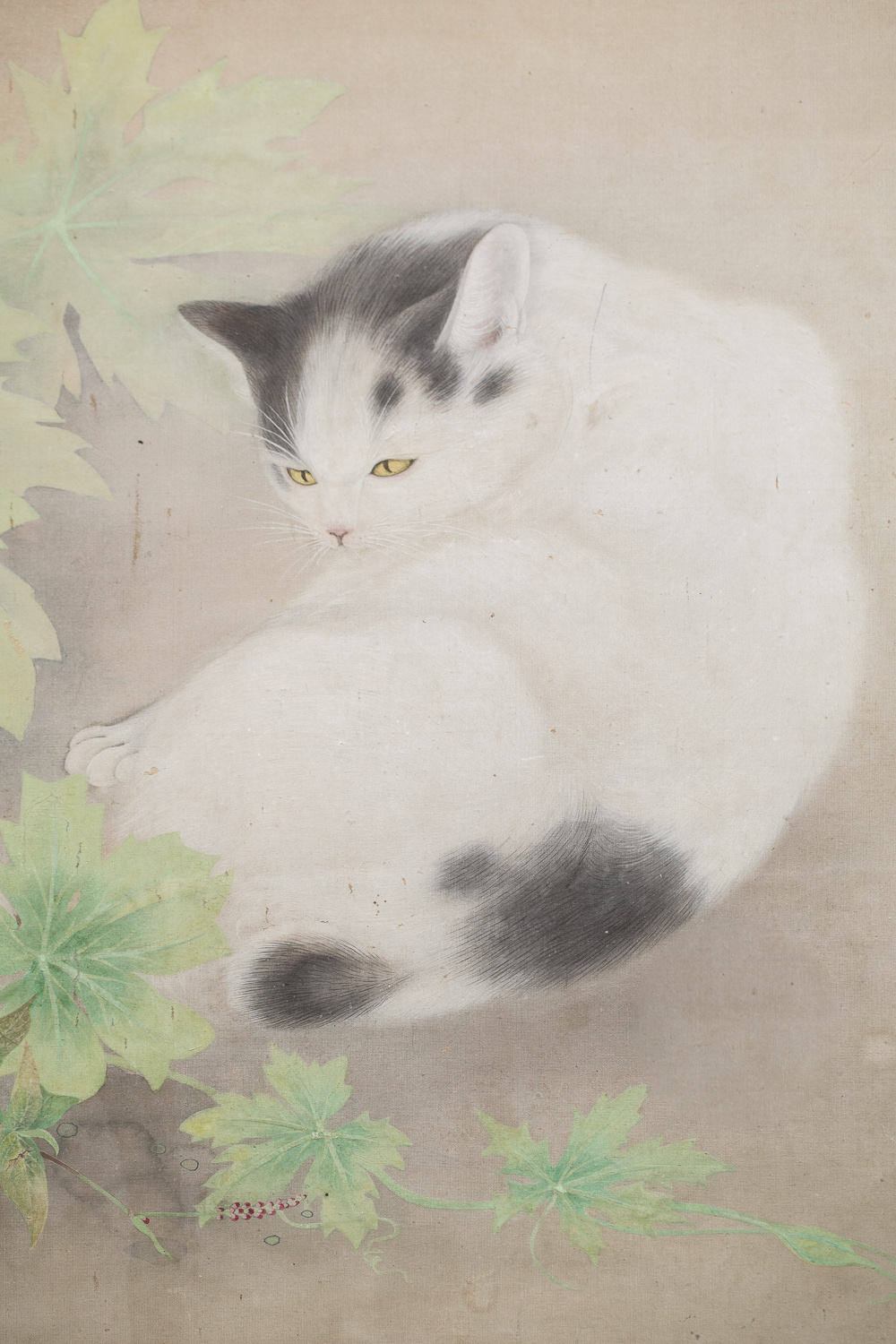 Japanese Two Panel Screen: Cat Resting Under Arbor