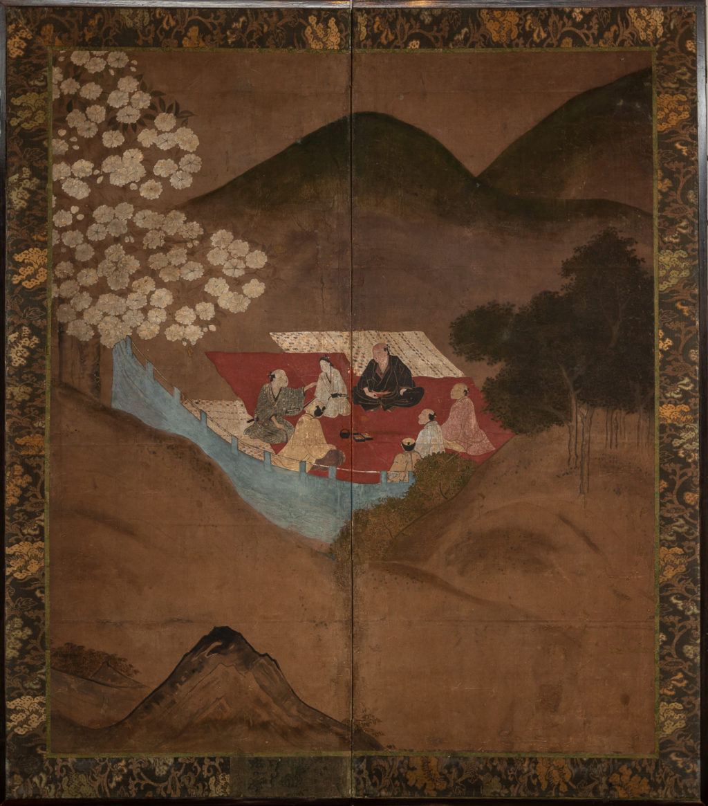 Japanese Two Panel Screen: Cherry Blossoms Viewing Party