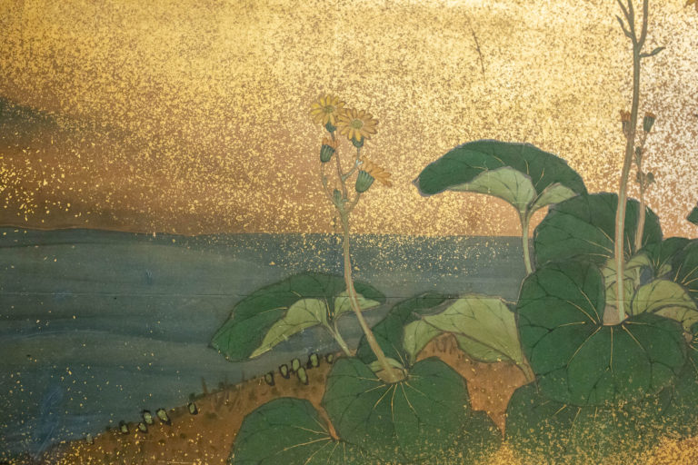 Japanese Two Panel Screen: Cherry Tree and Flowers in the Moonlight