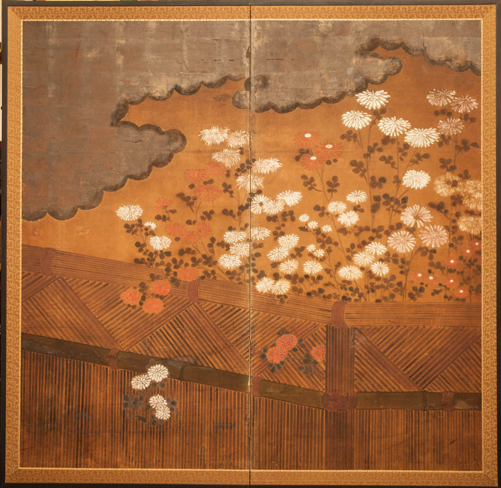 Japanese Two Panel Screen: Chrysanthemums Over a Woven Reed Fence