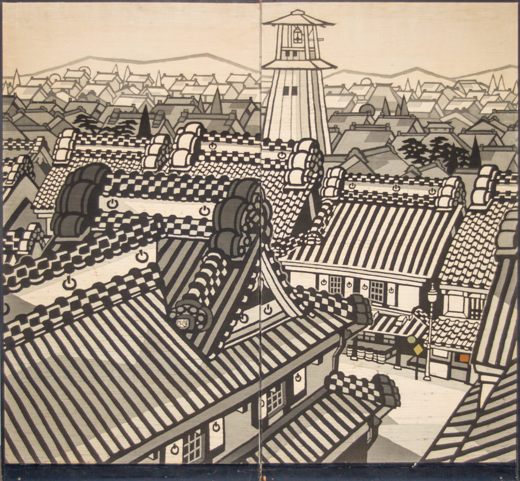Japanese Two Panel Screen: City View of Kyoto