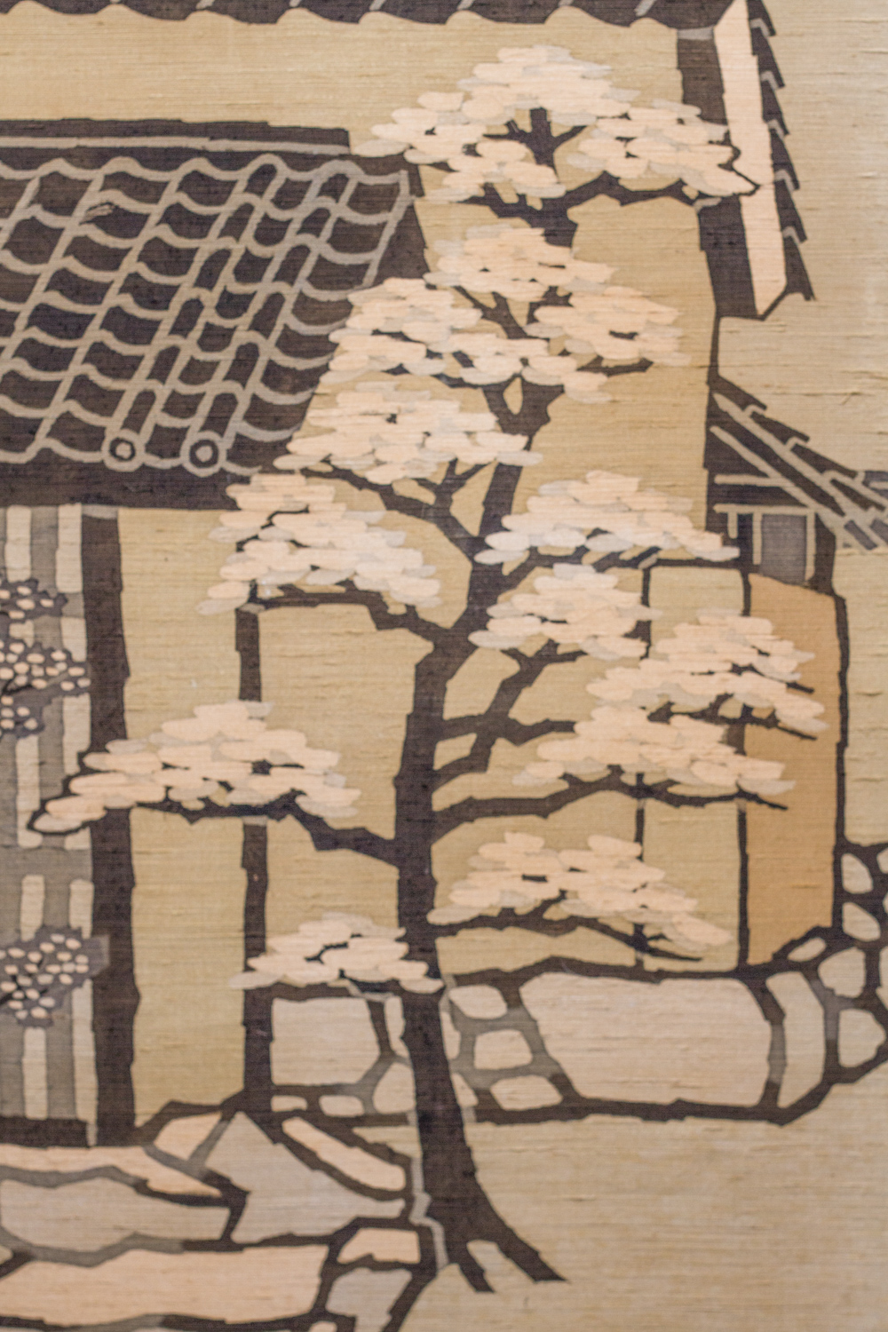 Japanese Two Panel Screen: Country Town Street Scene