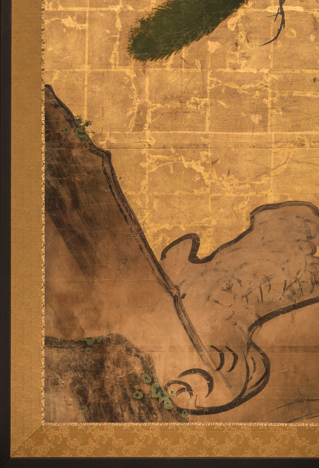 Japanese Two Panel Screen: Craggy Coast Line with Waves and Pine