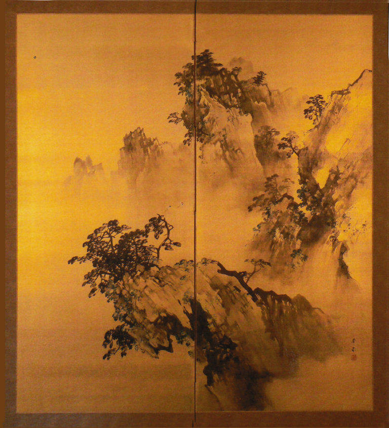Japanese Two Panel Screen: Craggy Landscape on Gold Silk