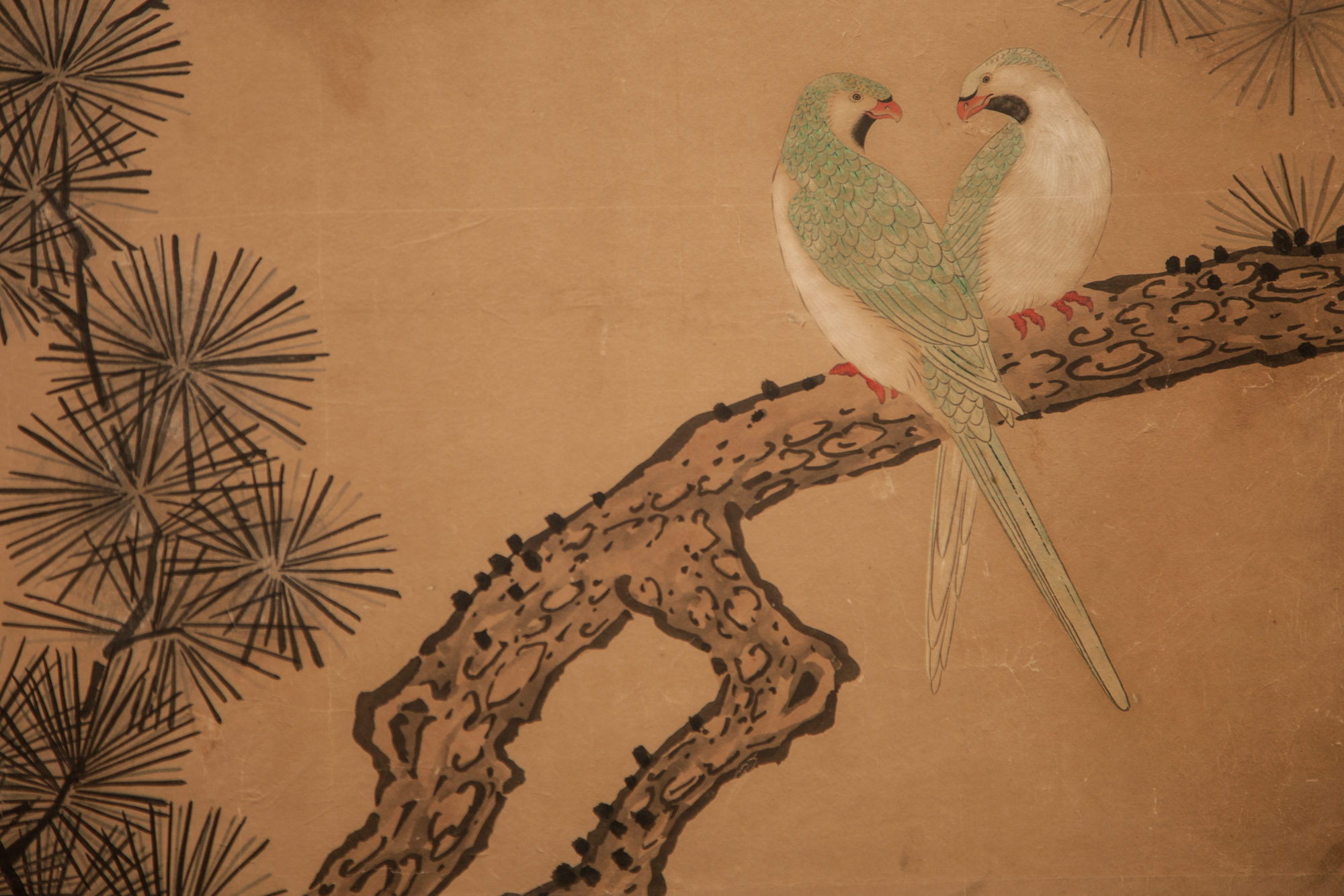 Japanese Two Panel Screen: Exotic Birds in Pine Tree
