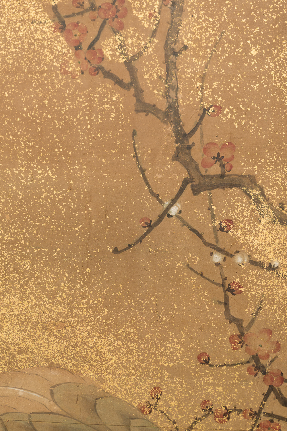 Japanese Two Panel Screen: Family of Cranes With Young Pine and Plum Blossom