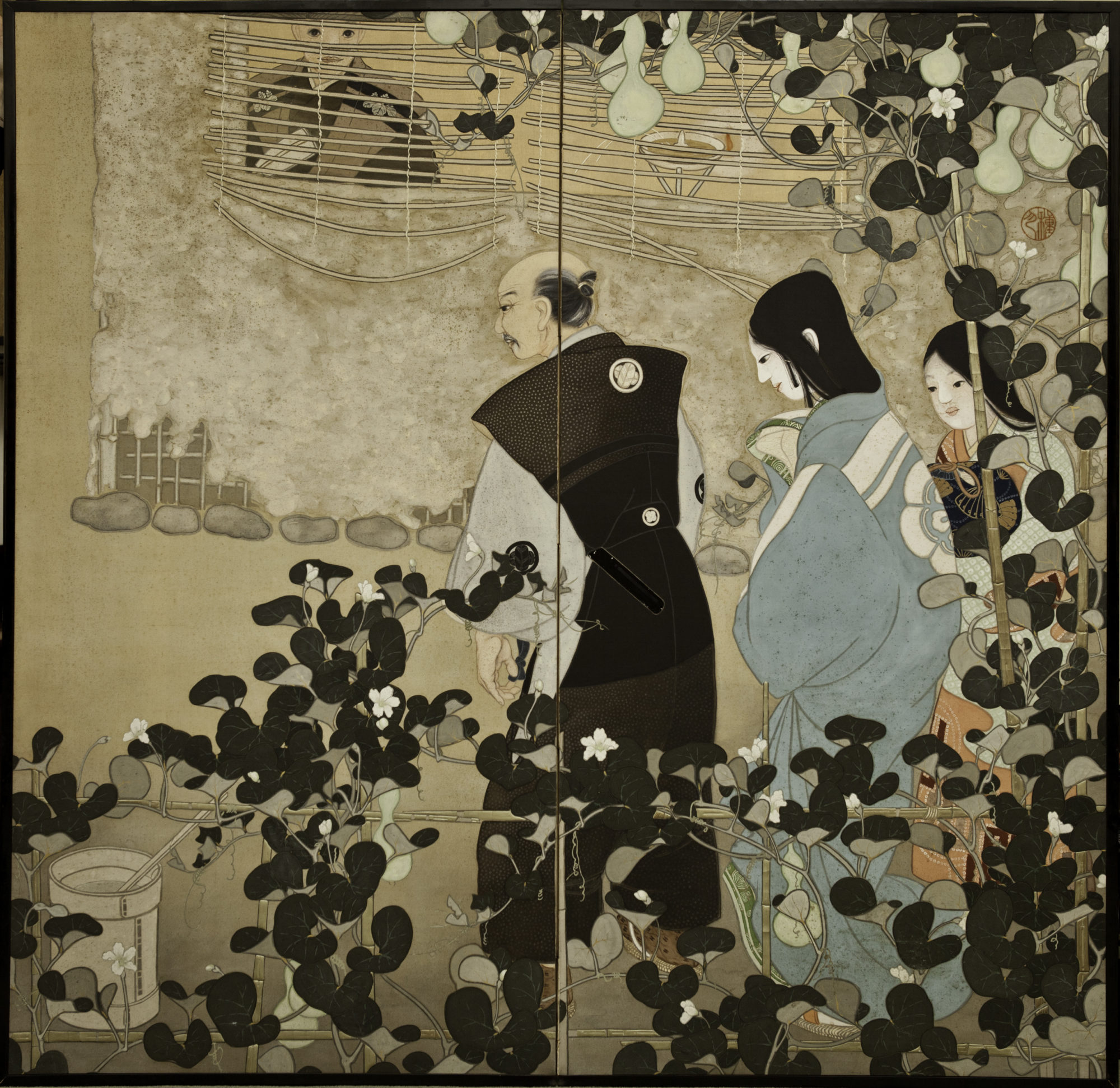 Japanese Two Panel Screen: Figures in a Garden Landscape