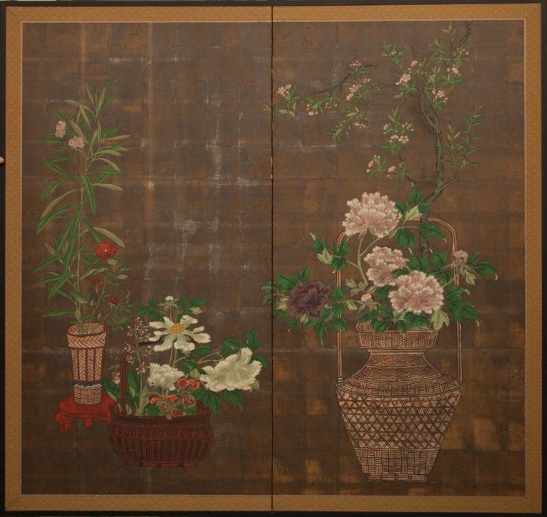 Japanese Two Panel Screen: Flower Arranging Baskets (Ikebana)