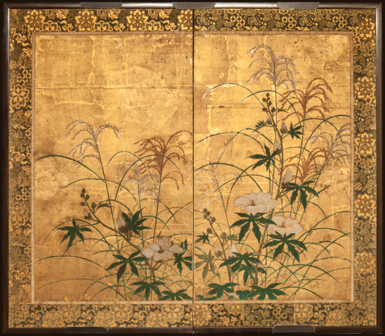 Japanese Two Panel Screen: Flowers and Grasses on Gold