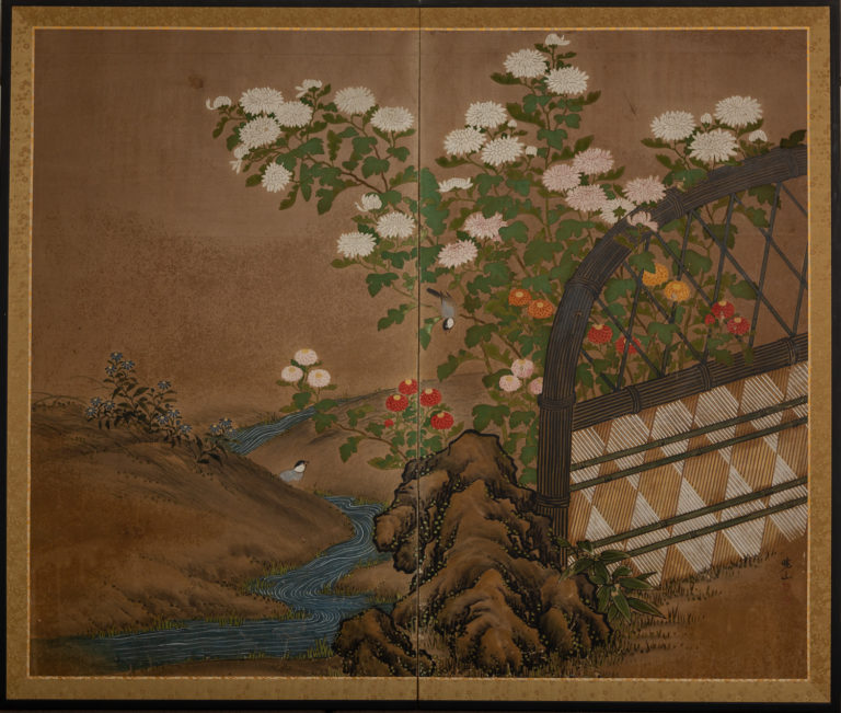 Japanese Two Panel Screen: Garden Scene with Crysanthemums