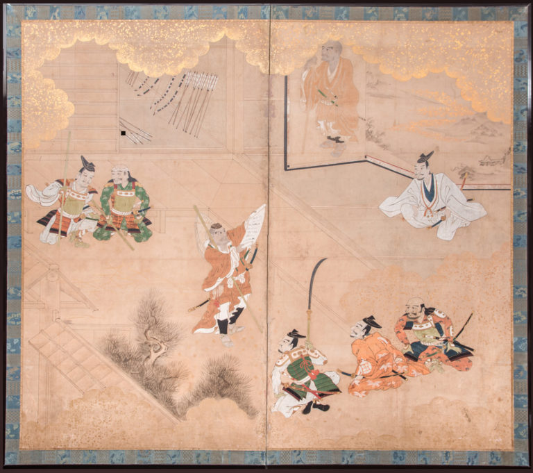 Japanese Two Panel Screen: Genpei Warriors